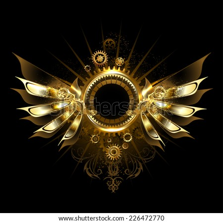 shiny mechanical wings, with gears and brass round banner. - stock vector