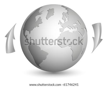 Shiny metallic globe - stock vector