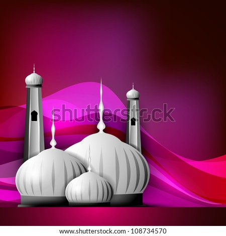 Shiny Mosque or Masjid on beautiful shiny pink background. EPS 10. - stock vector