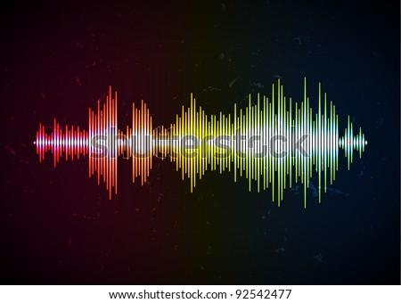 Shiny music wave - stock vector