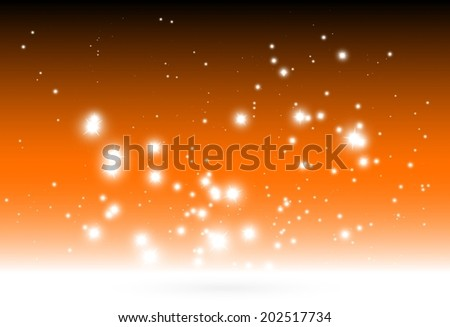 Shiny orange background vector template - Vector glitters and sparkles over white background illustration - stock vector