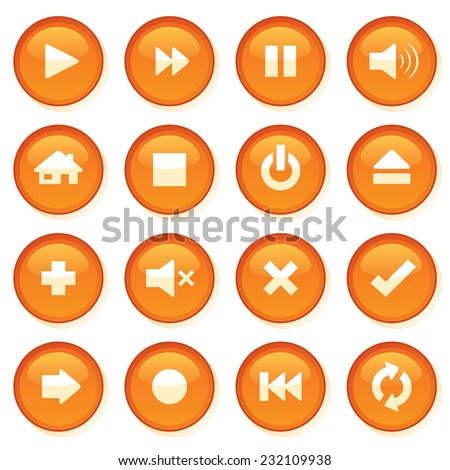 Shiny orange control web buttons. - stock vector