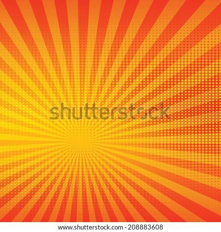 Shiny orange halftone and sun burst texture background,vector design - stock vector