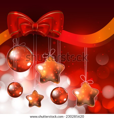 Shiny ornaments and lights on red background - stock vector
