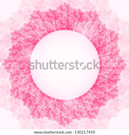 Shiny Pink Blossom Lotus Flower Frame. Round Label. Vector Background - stock vector