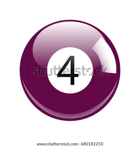 Shiny Purple Four Pool - Billiard Ball Icon Vector Isolated