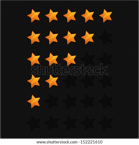 Shiny Rating Stars for mobile apps or web sites. Shadow and Light. - stock vector