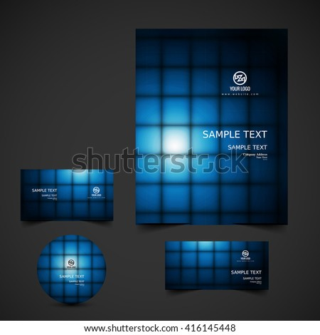 Shiny rays business stationery set - stock vector