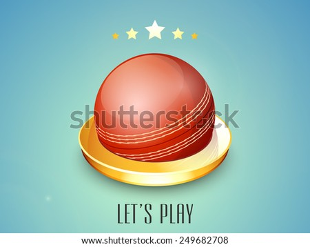 Shiny red ball in a 3D golden ring on blue background for Cricket. - stock vector