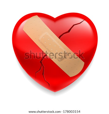 Shiny red cracked heart  with plaster on white background - stock vector