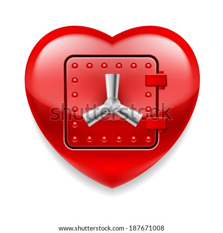 Shiny red heart with safe door. Love or life in safe  - stock vector