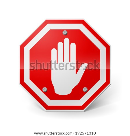 Shiny red metal stop sign with hand image over white - stock vector