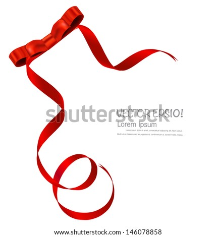 Shiny red ribbon on white background with copy space. Vector illustration. - stock vector