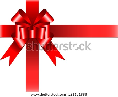 Shiny red ribbon with bow on white background. Vector illustration - stock vector