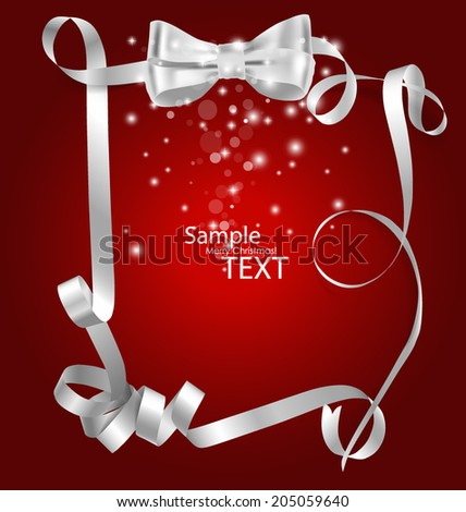 Shiny red ribbon with copy space. Vector illustration. - stock vector