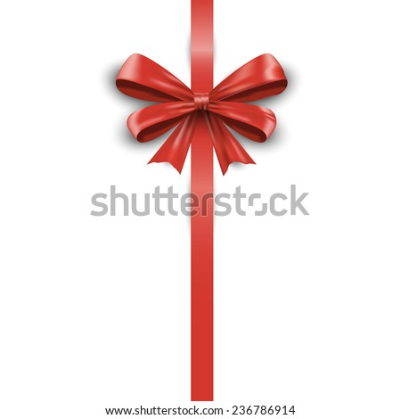 Shiny red satin ribbon isolated on white background. Vector illustration EPS10