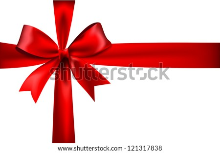 Shiny red satin ribbon on white background - stock vector