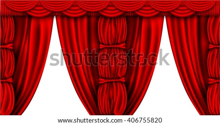 shiny red silk curtains with columns and palmet on a white background