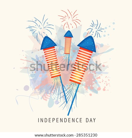 Shiny rockets in national flag color on splash background for 4th of July, American Independence Day celebration. - stock vector