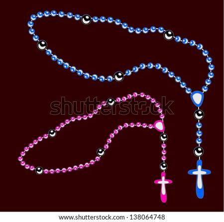 Shiny rosary set vector - stock vector