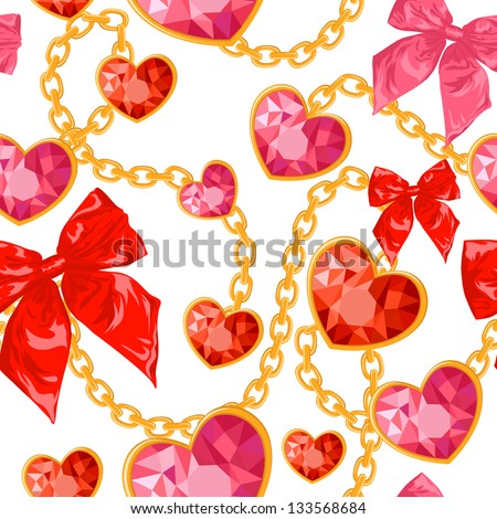 Shiny ruby heart pendants hanging with golden chains and colorful bows seamless pattern - stock vector