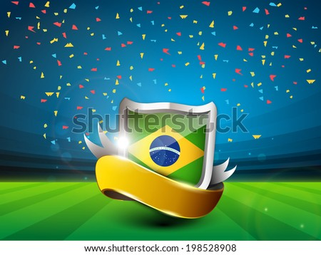 Shiny shield with Brazil Flag and golden ribbon on stadium ground.  - stock vector