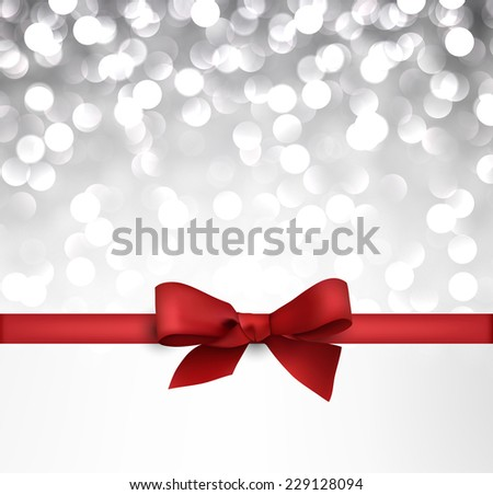 Shiny silver Christmas background with red bow. Vector Illustration. - stock vector