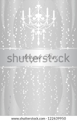 Shiny silver frame with chandelier - stock vector