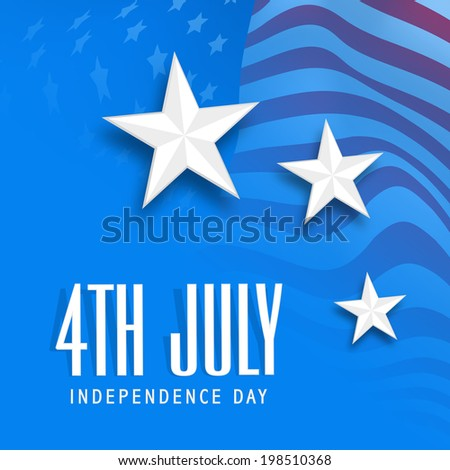 Shiny silver star on American national flag waving background for 4th of July, American Independence Day celebrations.  - stock vector