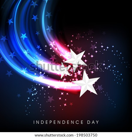 Shiny silver stars on American National Flag colors wave background for 4th of July, American Independence Day celebrations.  - stock vector
