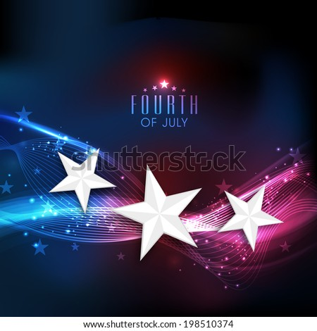 Shiny silver stars on national flag colors waves background for 4th of July, American Independence Day celebrations.  - stock vector