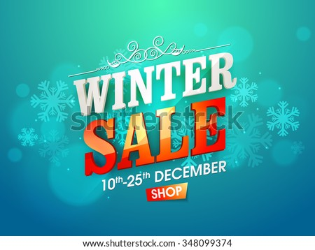 Shiny snowflakes decorated poster, banner or flyer design of Winter Sale for limited time. - stock vector