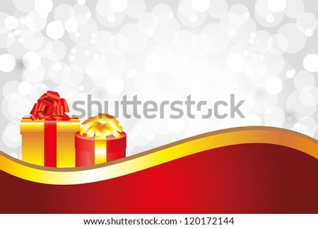 shiny snowflakes white christmas horizontal background with gifts and golden ribbon - stock vector