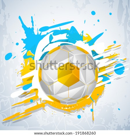 Shiny soccer ball on colourful grungy grey background.  - stock vector