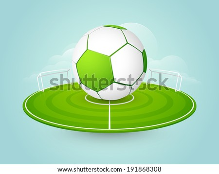 Shiny soccer ball with green ground stage on blue background.  - stock vector