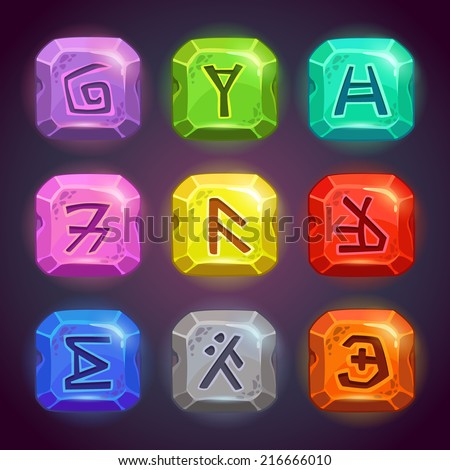 Shiny square stones with fantastic symbols. Runes on the rocks in different colors, beautiful elements for game design. - stock vector