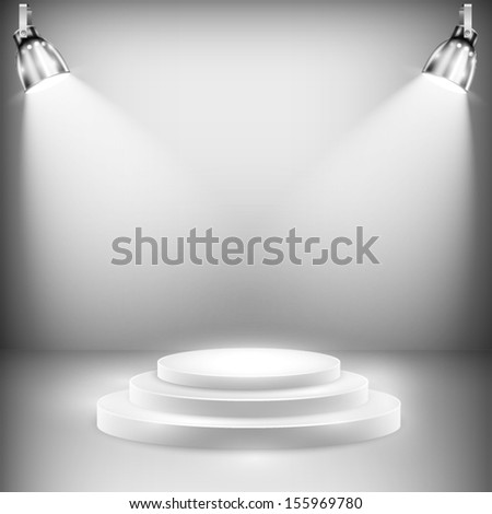 Shiny Stage Illuminated By Spotlights. Vector Illustration - stock vector