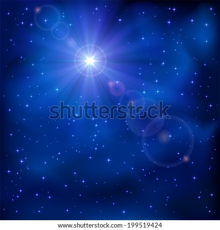 Shiny star in the dark blue night sky, illustration. - stock vector