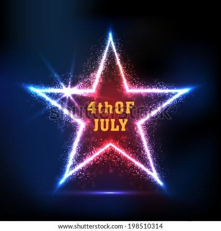 Shiny star with golden text 4th of July on black background for American Independence Day celebrations.  - stock vector