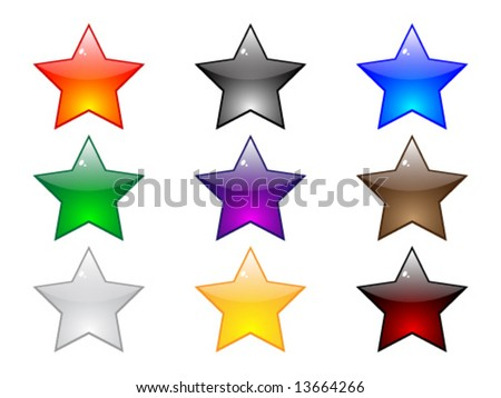 Shiny stars buttons - stock vector