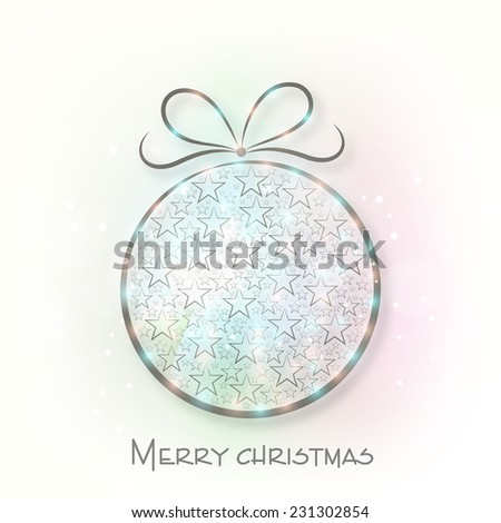 Shiny stars decorated X-mas ball for Merry Christmas celebrations.  - stock vector