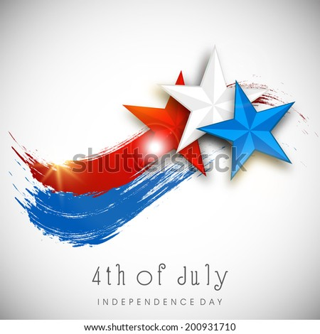 Shiny Stars in American National Flag color on grey background for 4th of July, American Independence Day celebrations.  - stock vector