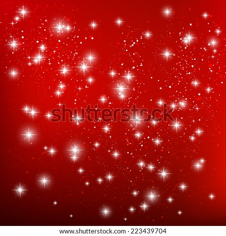 Shiny stars on red background - stock vector