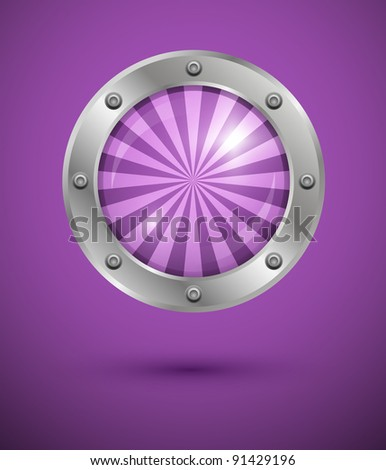 Shiny striped bubble in aluminum edging on purple background. Vector art. - stock vector