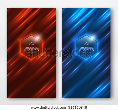 Shiny striped motion background. Red and blue card. - stock vector