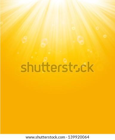 shiny sun beams, summer background. yellow &  orange sunburst background - stock vector