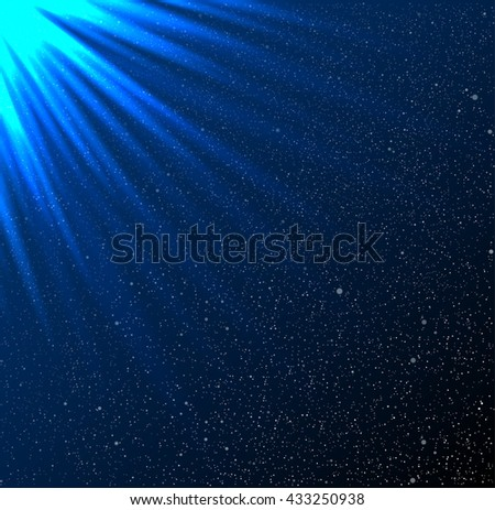 Shiny sunburst of sunbeams on the star sky. Blue rays of the sun on a background of the starry sky. Glare. - stock vector