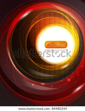 Shiny swirl background. Glass circles on black - stock vector