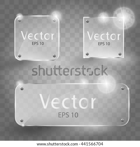 Shiny transparent Glass Frame Set. Vector Illustration EPS10. Glass frames. Square, Gloss, blank, empty round glass.   - stock vector