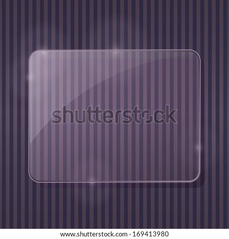 Shiny Transparent Rectangle Glass Framework on Abstract Stripe Pattern. Advertising Brochure with Place for Text. Vector Illustration. - stock vector